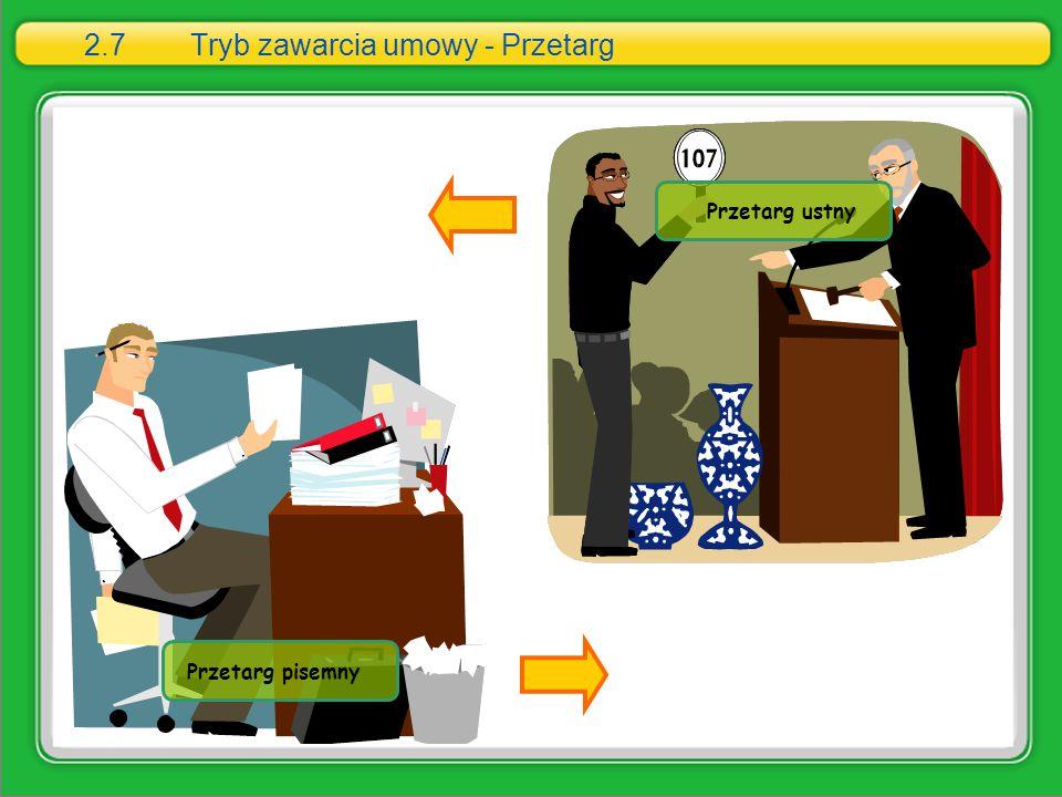 2.7Tryb zawarcia umowy - Przetarg Przetarg ustny Przetarg pisemny