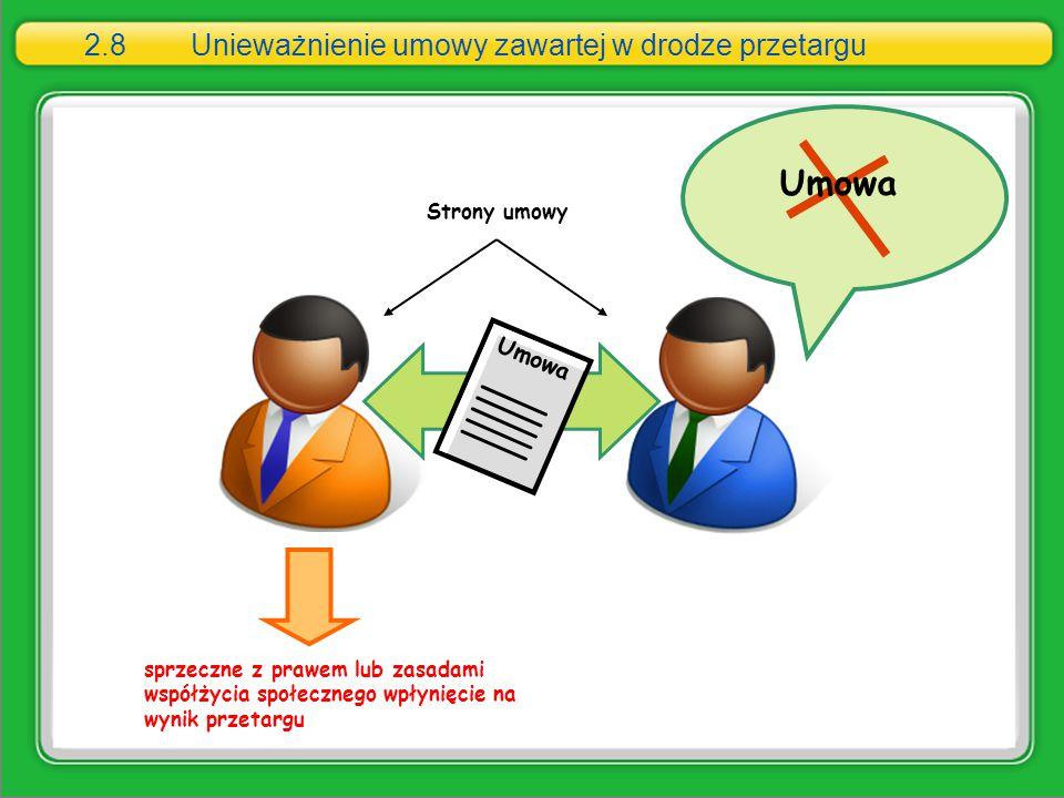 2.8Unieważnienie umowy zawartej w drodze przetargu sprzeczne z prawem lub zasadami współżycia społecznego wpłynięcie na wynik przetargu Umowa Strony u