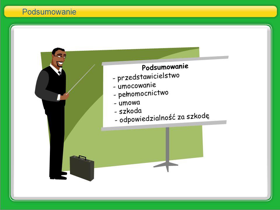 Podsumowanie - przedstawicielstwo - umocowanie - pełnomocnictwo - umowa - szkoda - odpowiedzialność za szkodę Podsumowanie