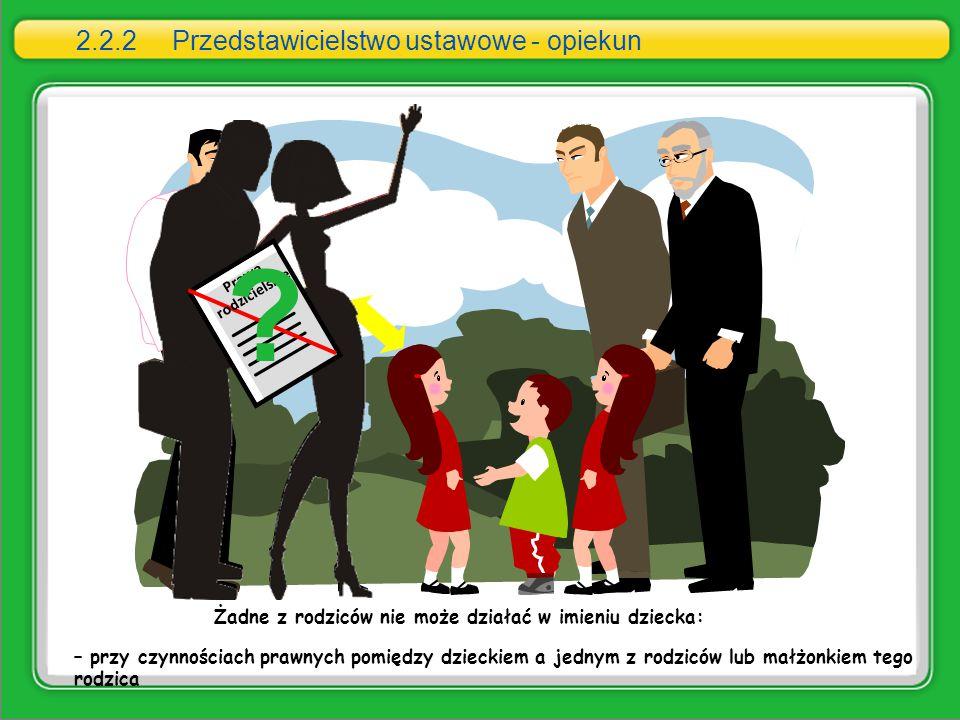 – przy czynnościach prawnych pomiędzy dzieckiem a jednym z rodziców lub małżonkiem tego rodzica Żadne z rodziców nie może działać w imieniu dziecka: P