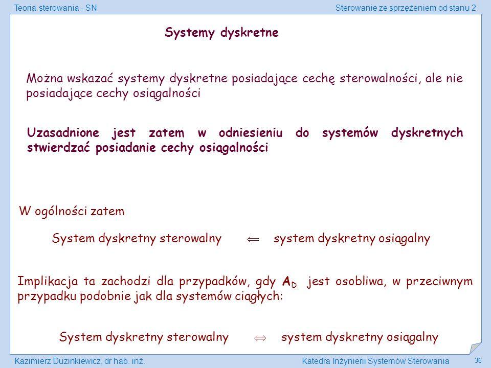 Teoria sterowania - SNSterowanie ze sprzężeniem od stanu 2 Kazimierz Duzinkiewicz, dr hab. inż.Katedra Inżynierii Systemów Sterowania 36 Systemy dyskr