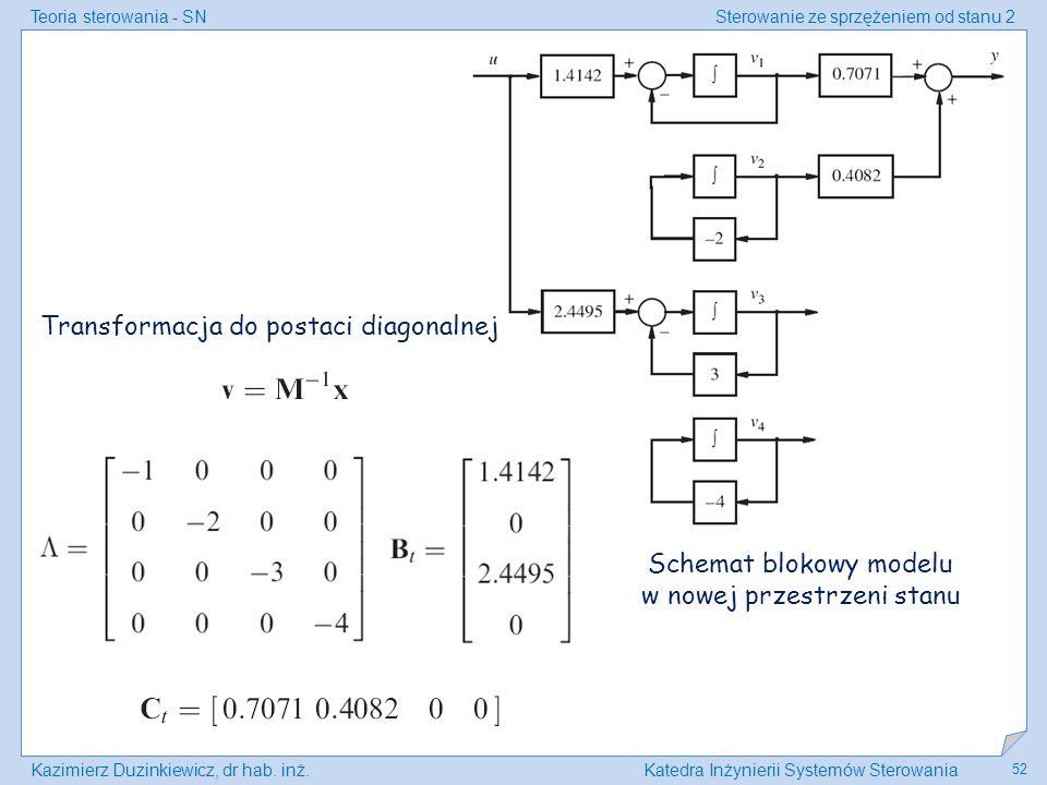 Teoria sterowania - SNSterowanie ze sprzężeniem od stanu 2 Kazimierz Duzinkiewicz, dr hab. inż.Katedra Inżynierii Systemów Sterowania 52 Transformacja