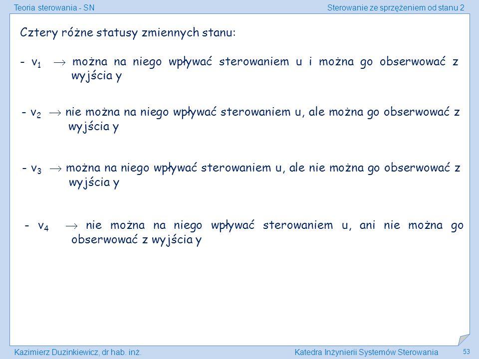 Teoria sterowania - SNSterowanie ze sprzężeniem od stanu 2 Kazimierz Duzinkiewicz, dr hab. inż.Katedra Inżynierii Systemów Sterowania 53 Cztery różne