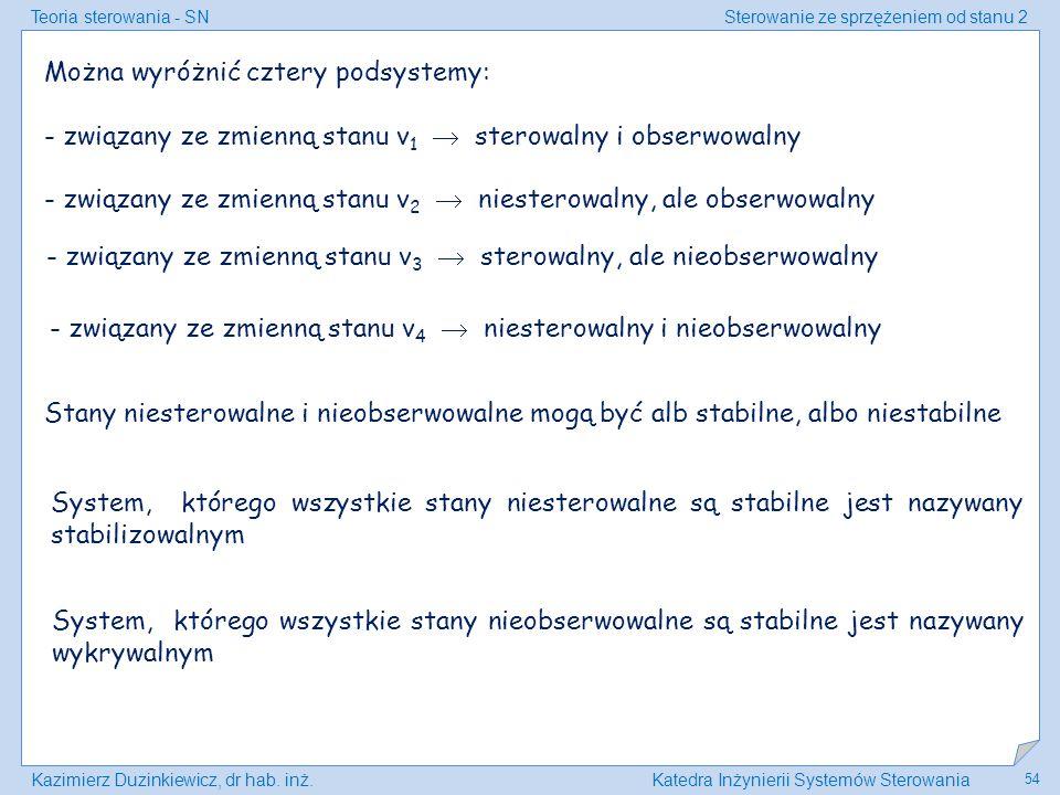 Teoria sterowania - SNSterowanie ze sprzężeniem od stanu 2 Kazimierz Duzinkiewicz, dr hab. inż.Katedra Inżynierii Systemów Sterowania 54 Można wyróżni