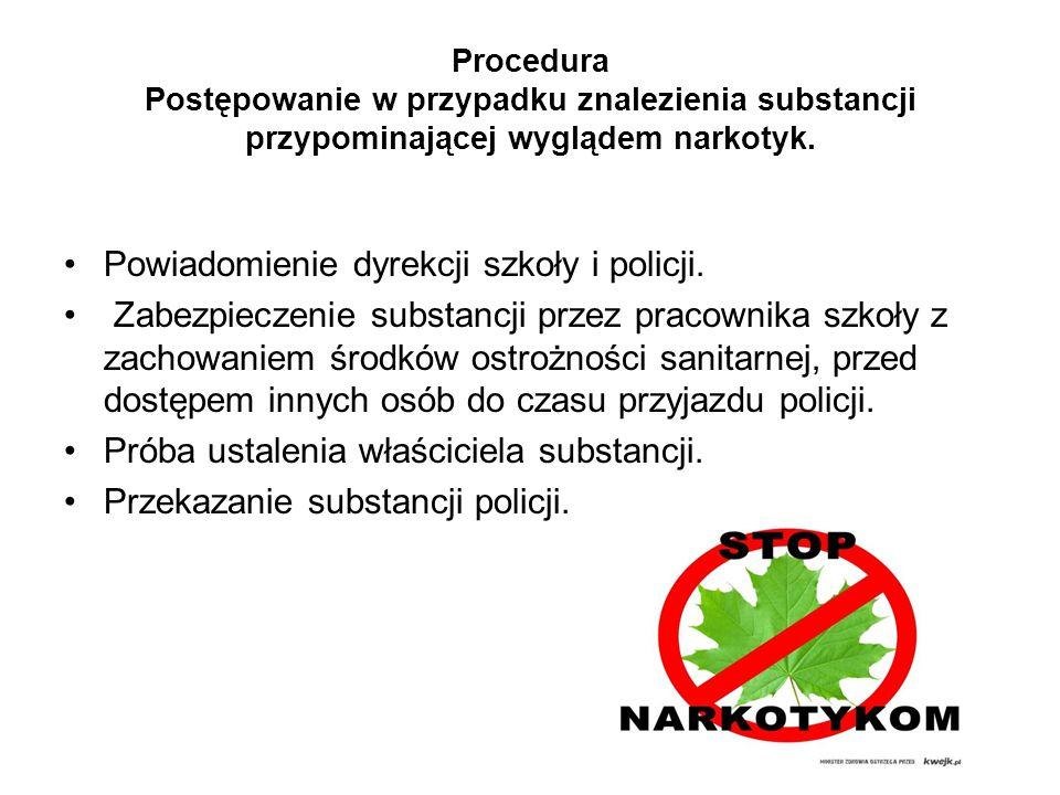 Procedura Postępowanie w przypadku znalezienia substancji przypominającej wyglądem narkotyk. Powiadomienie dyrekcji szkoły i policji. Zabezpieczenie s