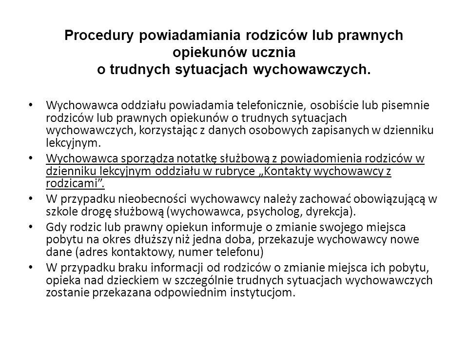Procedury powiadamiania rodziców lub prawnych opiekunów ucznia o trudnych sytuacjach wychowawczych. Wychowawca oddziału powiadamia telefonicznie, osob