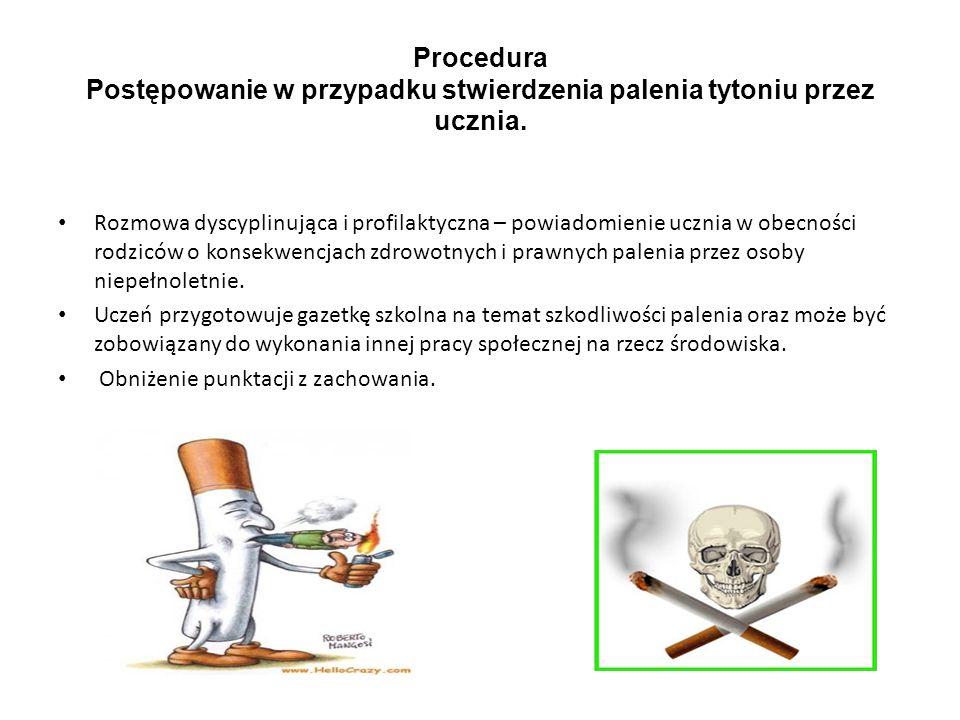 Procedura Postępowanie w przypadku stwierdzenia palenia tytoniu przez ucznia. Rozmowa dyscyplinująca i profilaktyczna – powiadomienie ucznia w obecnoś