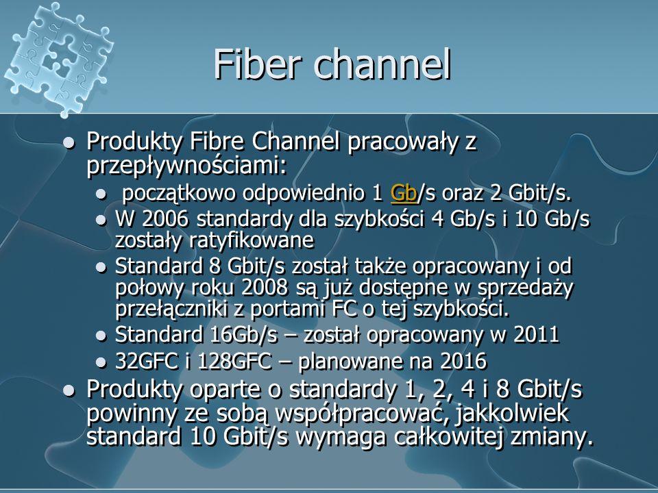 Fiber channel Produkty Fibre Channel pracowały z przepływnościami: początkowo odpowiednio 1 Gb/s oraz 2 Gbit/s.Gb W 2006 standardy dla szybkości 4 Gb/s i 10 Gb/s zostały ratyfikowane Standard 8 Gbit/s został także opracowany i od połowy roku 2008 są już dostępne w sprzedaży przełączniki z portami FC o tej szybkości.