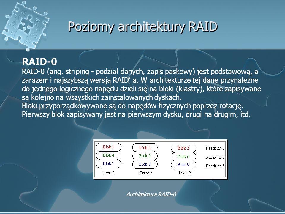 Poziomy architektury RAID RAID-0 RAID-0 (ang. striping - podział danych, zapis paskowy) jest podstawową, a zarazem i najszybszą wersją RAID' a. W arch