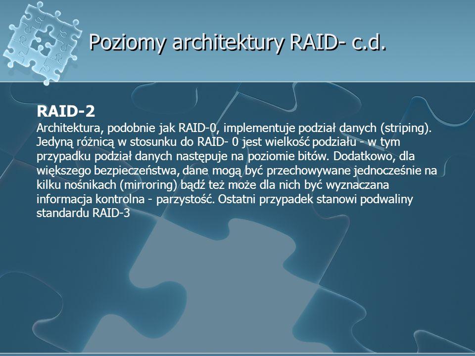 Poziomy architektury RAID- c.d. RAID-2 Architektura, podobnie jak RAID-0, implementuje podział danych (striping). Jedyną różnicą w stosunku do RAID- 0