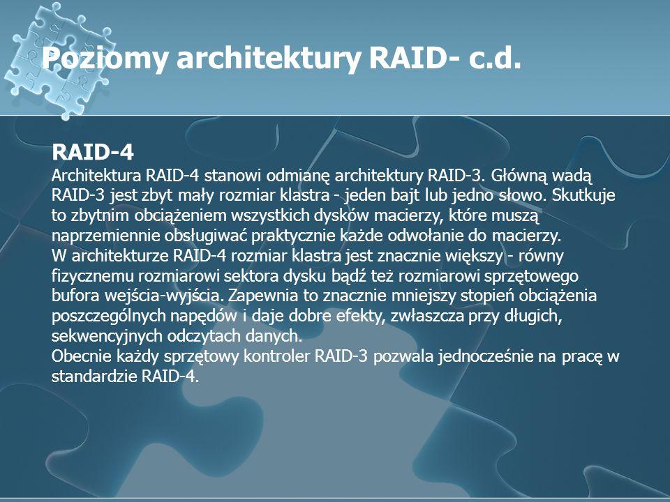 Poziomy architektury RAID- c.d. RAID-4 Architektura RAID-4 stanowi odmianę architektury RAID-3. Główną wadą RAID-3 jest zbyt mały rozmiar klastra - je
