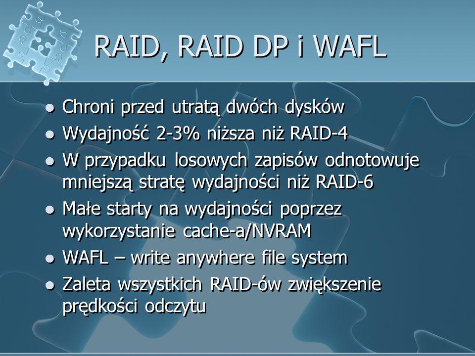RAID, RAID DP i WAFL Chroni przed utratą dwóch dysków Wydajność 2-3% niższa niż RAID-4 W przypadku losowych zapisów odnotowuje mniejszą stratę wydajności niż RAID-6 Małe starty na wydajności poprzez wykorzystanie cache-a/NVRAM WAFL – write anywhere file system Zaleta wszystkich RAID-ów zwiększenie prędkości odczytu Chroni przed utratą dwóch dysków Wydajność 2-3% niższa niż RAID-4 W przypadku losowych zapisów odnotowuje mniejszą stratę wydajności niż RAID-6 Małe starty na wydajności poprzez wykorzystanie cache-a/NVRAM WAFL – write anywhere file system Zaleta wszystkich RAID-ów zwiększenie prędkości odczytu