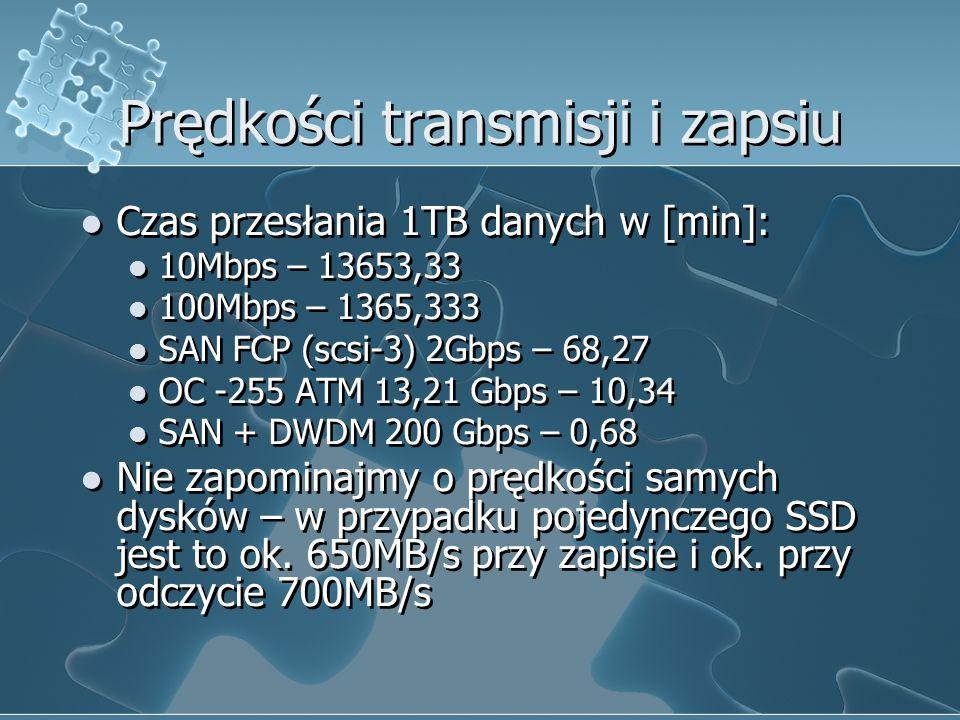Prędkości transmisji i zapsiu Czas przesłania 1TB danych w [min]: 10Mbps – 13653,33 100Mbps – 1365,333 SAN FCP (scsi-3) 2Gbps – 68,27 OC -255 ATM 13,21 Gbps – 10,34 SAN + DWDM 200 Gbps – 0,68 Nie zapominajmy o prędkości samych dysków – w przypadku pojedynczego SSD jest to ok.
