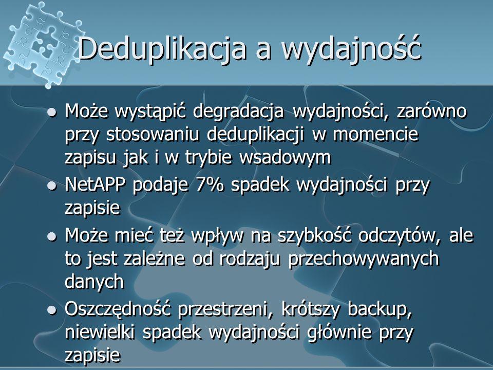 Deduplikacja a wydajność Może wystąpić degradacja wydajności, zarówno przy stosowaniu deduplikacji w momencie zapisu jak i w trybie wsadowym NetAPP po