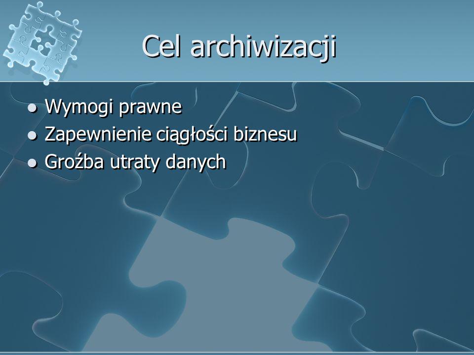 Cel archiwizacji Wymogi prawne Zapewnienie ciągłości biznesu Groźba utraty danych Wymogi prawne Zapewnienie ciągłości biznesu Groźba utraty danych