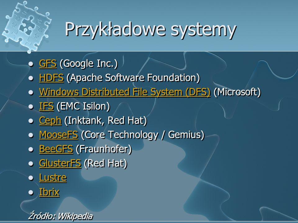 Przykładowe systemy GFS (Google Inc.) GFS HDFS (Apache Software Foundation) HDFS Windows Distributed File System (DFS) (Microsoft) Windows Distributed File System (DFS) IFS (EMC Isilon) IFS Ceph (Inktank, Red Hat) Ceph MooseFS (Core Technology / Gemius) MooseFS BeeGFS (Fraunhofer) BeeGFS GlusterFS (Red Hat) GlusterFS Lustre Ibrix Źródło: Wikipedia GFS (Google Inc.) GFS HDFS (Apache Software Foundation) HDFS Windows Distributed File System (DFS) (Microsoft) Windows Distributed File System (DFS) IFS (EMC Isilon) IFS Ceph (Inktank, Red Hat) Ceph MooseFS (Core Technology / Gemius) MooseFS BeeGFS (Fraunhofer) BeeGFS GlusterFS (Red Hat) GlusterFS Lustre Ibrix Źródło: Wikipedia