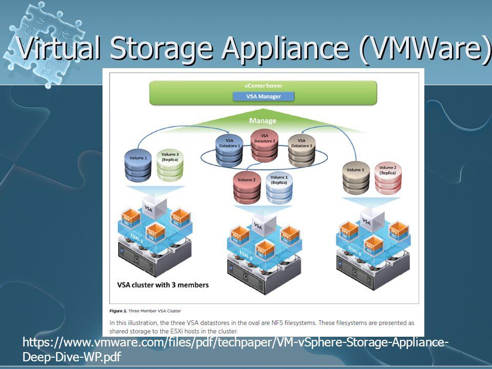 Virtual Storage Appliance (VMWare) https://www.vmware.com/files/pdf/techpaper/VM-vSphere-Storage-Appliance- Deep-Dive-WP.pdf