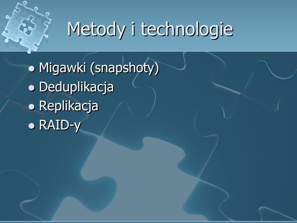 Metody i technologie Migawki (snapshoty) Deduplikacja Replikacja RAID-y Migawki (snapshoty) Deduplikacja Replikacja RAID-y