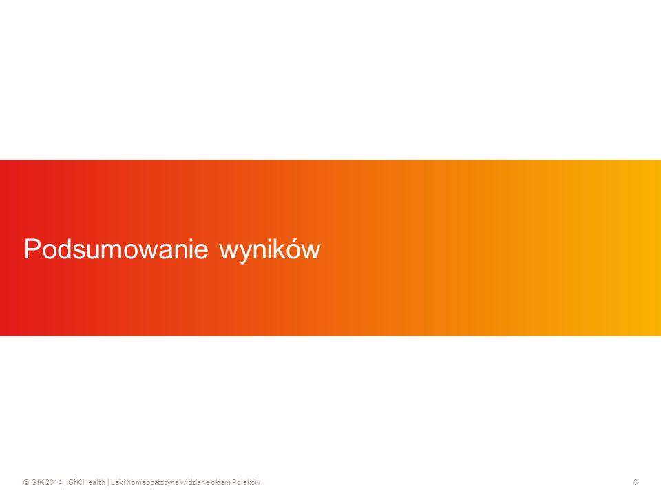 © GfK 2014 | GfK Health | Leki homeopatzcyne widziane okiem Polaków 6 Podsumowanie wyników