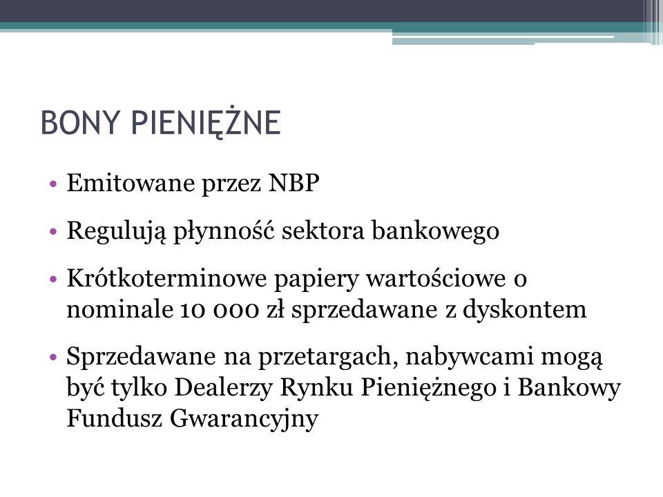 BONY PIENIĘŻNE Emitowane przez NBP Regulują płynność sektora bankowego Krótkoterminowe papiery wartościowe o nominale 10 000 zł sprzedawane z dyskontem Sprzedawane na przetargach, nabywcami mogą być tylko Dealerzy Rynku Pieniężnego i Bankowy Fundusz Gwarancyjny