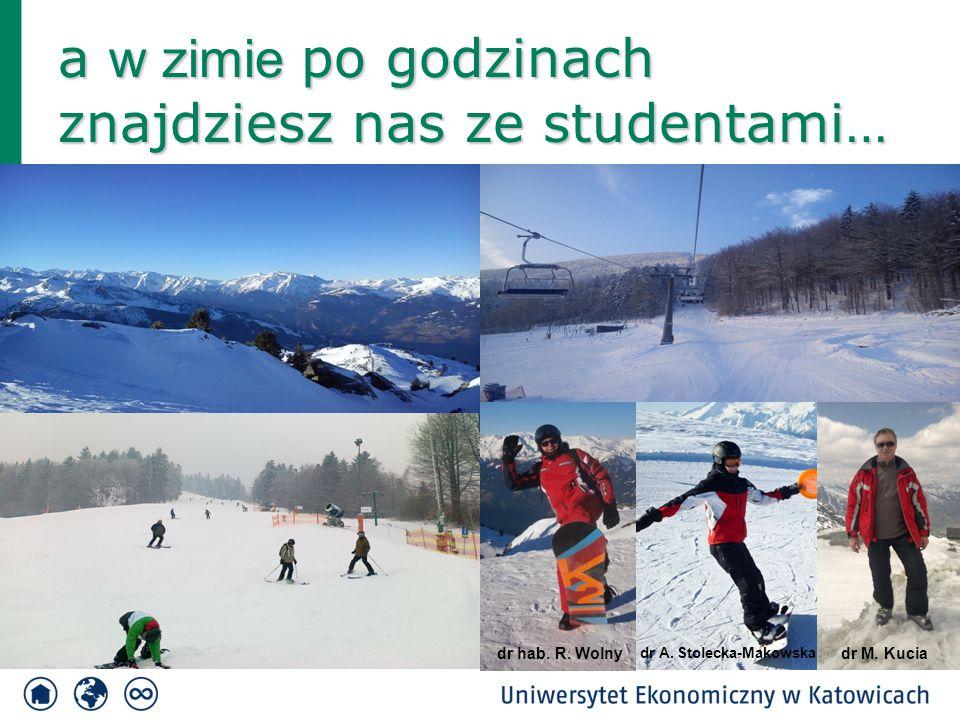 a w zimie po godzinach znajdziesz nas ze studentami… dr hab. R. Wolnydr M. Kucia dr A. Stolecka-Makowska
