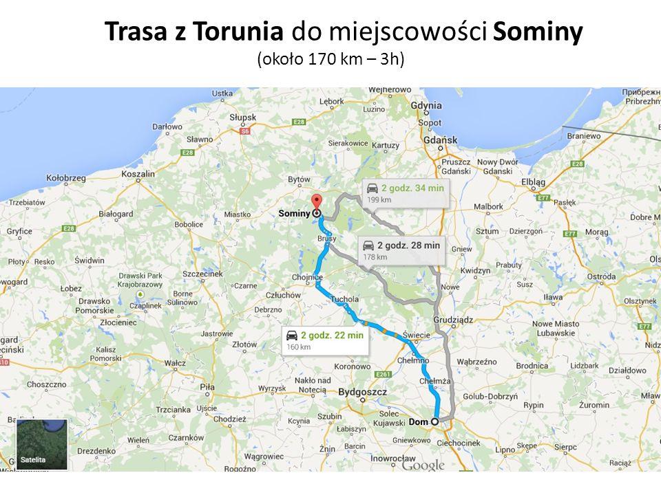 Trasa z Torunia do miejscowości Sominy (około 170 km – 3h)