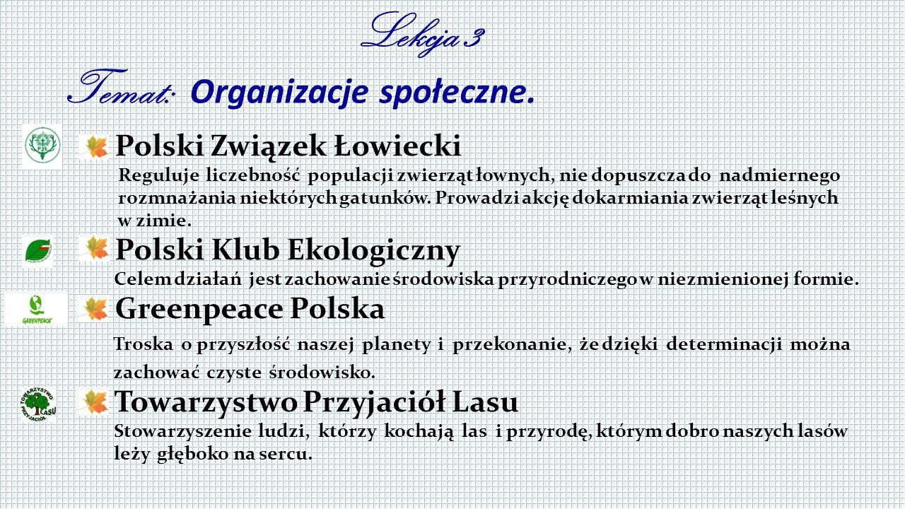 Lekcja 3 Temat: Organizacje społeczne.