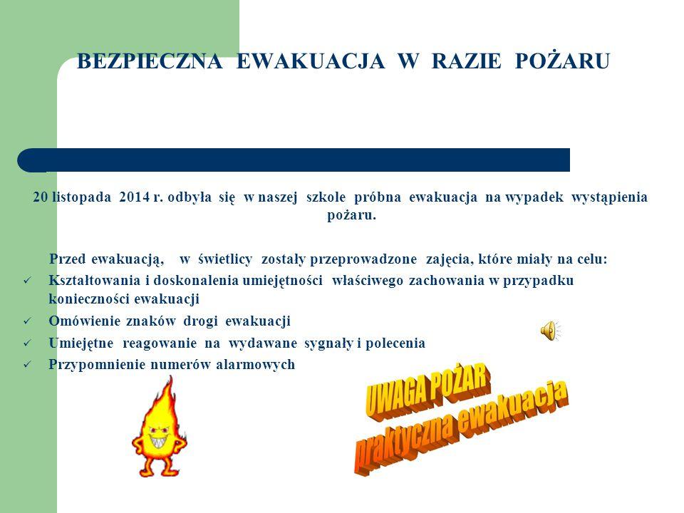 BEZPIECZNA EWAKUACJA W RAZIE POŻARU 20 listopada 2014 r.