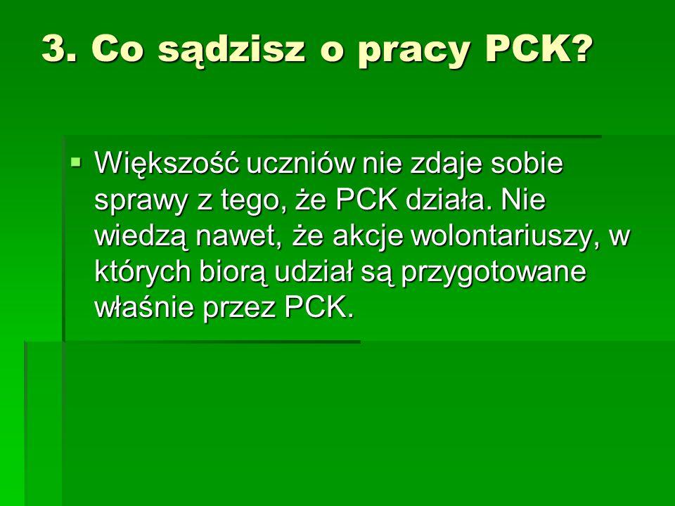 3. Co sądzisz o pracy PCK?  Większość uczniów nie zdaje sobie sprawy z tego, że PCK działa. Nie wiedzą nawet, że akcje wolontariuszy, w których biorą