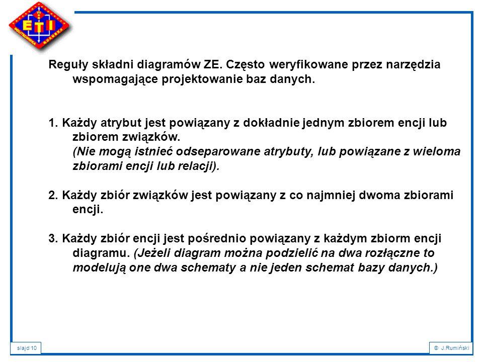 slajd 10© J.Rumiński Reguły składni diagramów ZE.