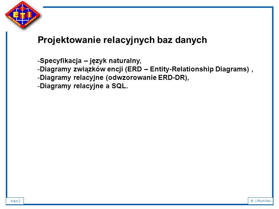 slajd 2© J.Rumiński Projektowanie relacyjnych baz danych -Specyfikacja – język naturalny, -Diagramy związków encji (ERD – Entity-Relationship Diagrams), -Diagramy relacyjne (odwzorowanie ERD-DR), -Diagramy relacyjne a SQL.