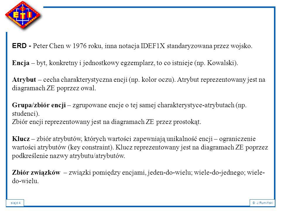 slajd 25© J.Rumiński Odwzorowanie diagramu ZE na model relacyjny Klucze kandydujące, Klucze główne, Tabele, Klucze obce, Typy danych Relacje