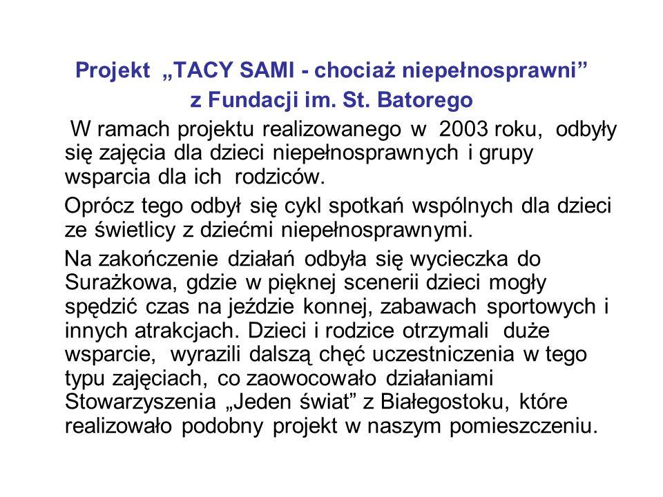 """Projekt """"TACY SAMI - chociaż niepełnosprawni"""" z Fundacji im. St. Batorego W ramach projektu realizowanego w 2003 roku, odbyły się zajęcia dla dzieci n"""