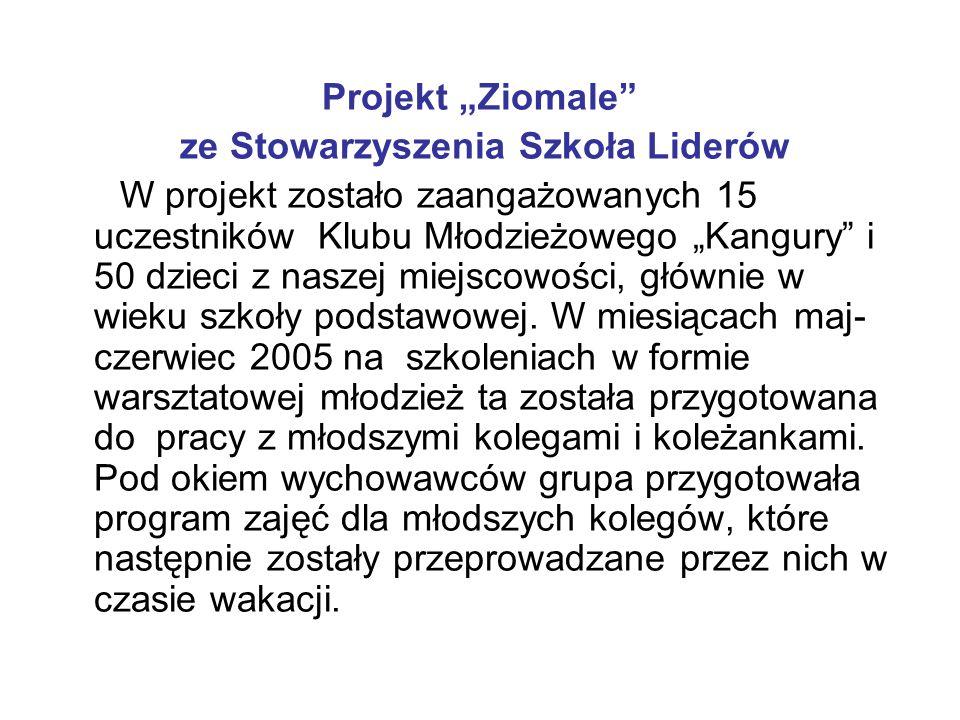 """Projekt """"Ziomale"""" ze Stowarzyszenia Szkoła Liderów W projekt zostało zaangażowanych 15 uczestników Klubu Młodzieżowego """"Kangury"""" i 50 dzieci z naszej"""
