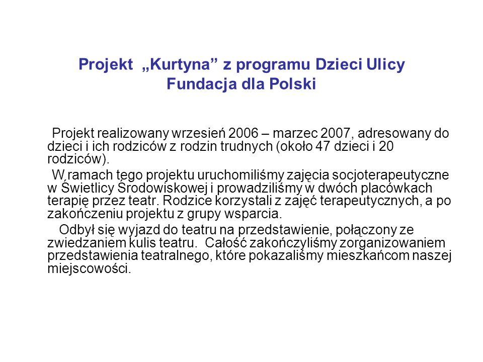 """Projekt """"Kurtyna"""" z programu Dzieci Ulicy Fundacja dla Polski Projekt realizowany wrzesień 2006 – marzec 2007, adresowany do dzieci i ich rodziców z r"""