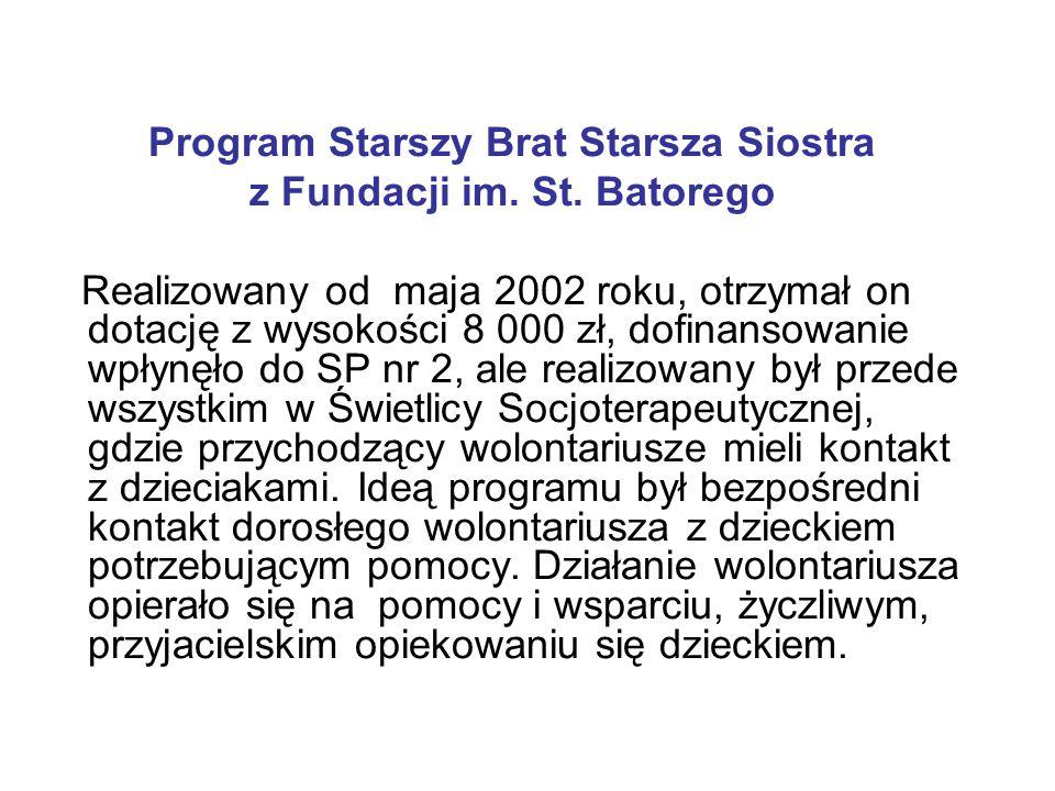 Program Starszy Brat Starsza Siostra z Fundacji im. St. Batorego Realizowany od maja 2002 roku, otrzymał on dotację z wysokości 8 000 zł, dofinansowan
