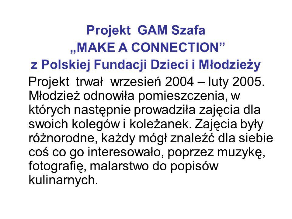 """Projekt GAM Szafa """"MAKE A CONNECTION"""" z Polskiej Fundacji Dzieci i Młodzieży Projekt trwał wrzesień 2004 – luty 2005. Młodzież odnowiła pomieszczenia,"""