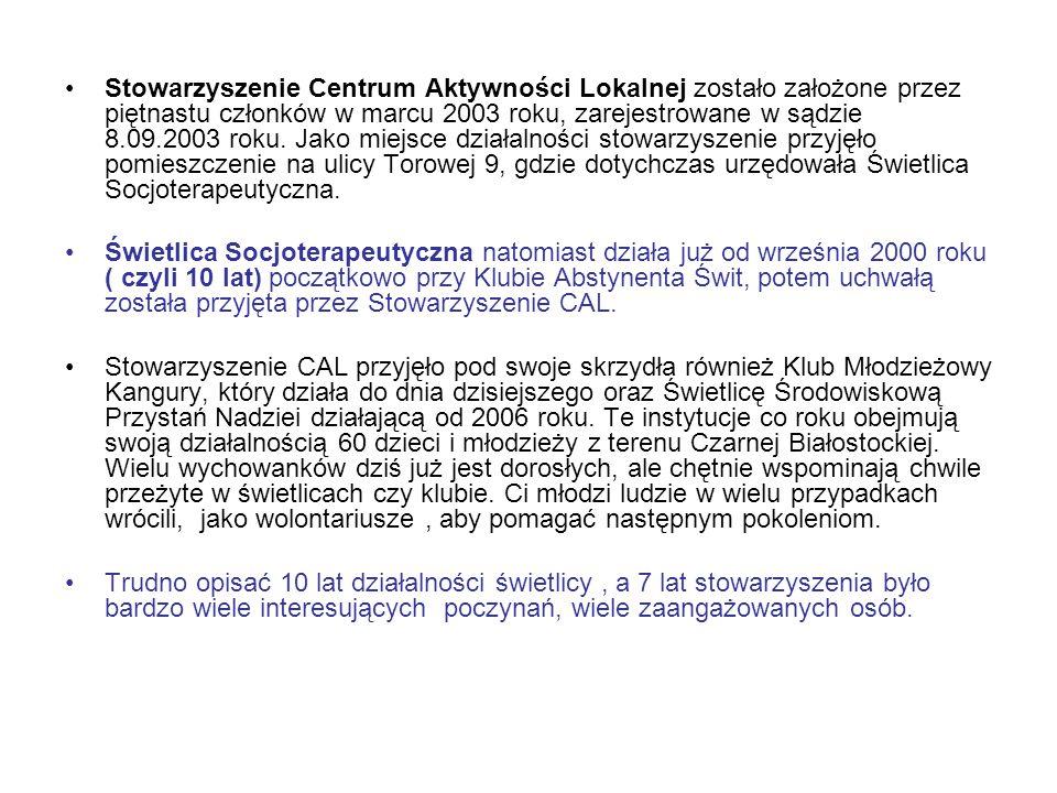 Stowarzyszenie Centrum Aktywności Lokalnej zostało założone przez piętnastu członków w marcu 2003 roku, zarejestrowane w sądzie 8.09.2003 roku. Jako m