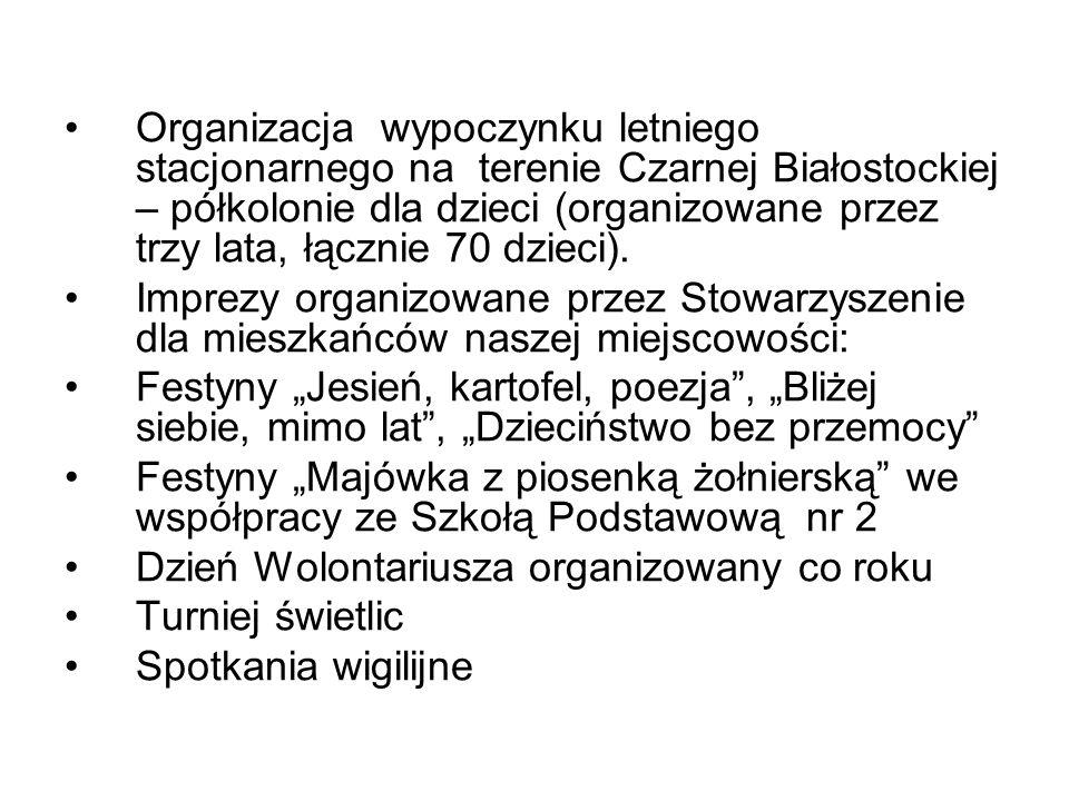 Organizacja wypoczynku letniego stacjonarnego na terenie Czarnej Białostockiej – półkolonie dla dzieci (organizowane przez trzy lata, łącznie 70 dzieci).