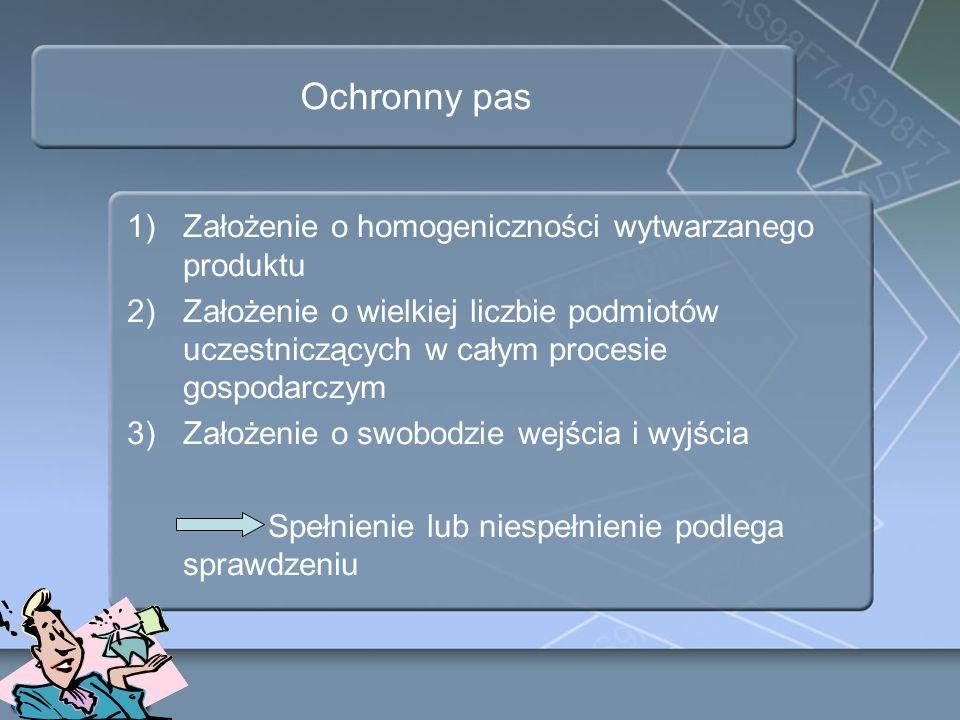 Ochronny pas 1)Założenie o homogeniczności wytwarzanego produktu 2)Założenie o wielkiej liczbie podmiotów uczestniczących w całym procesie gospodarczy
