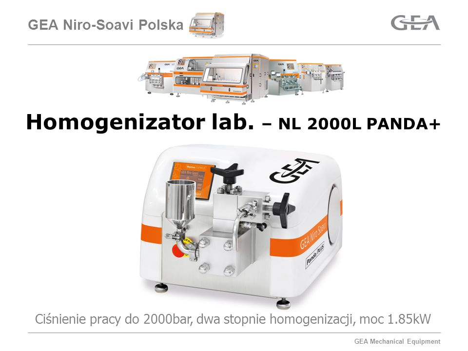 GEA Mechanical Equipment GEA Niro-Soavi Polska Homogenizator lab.