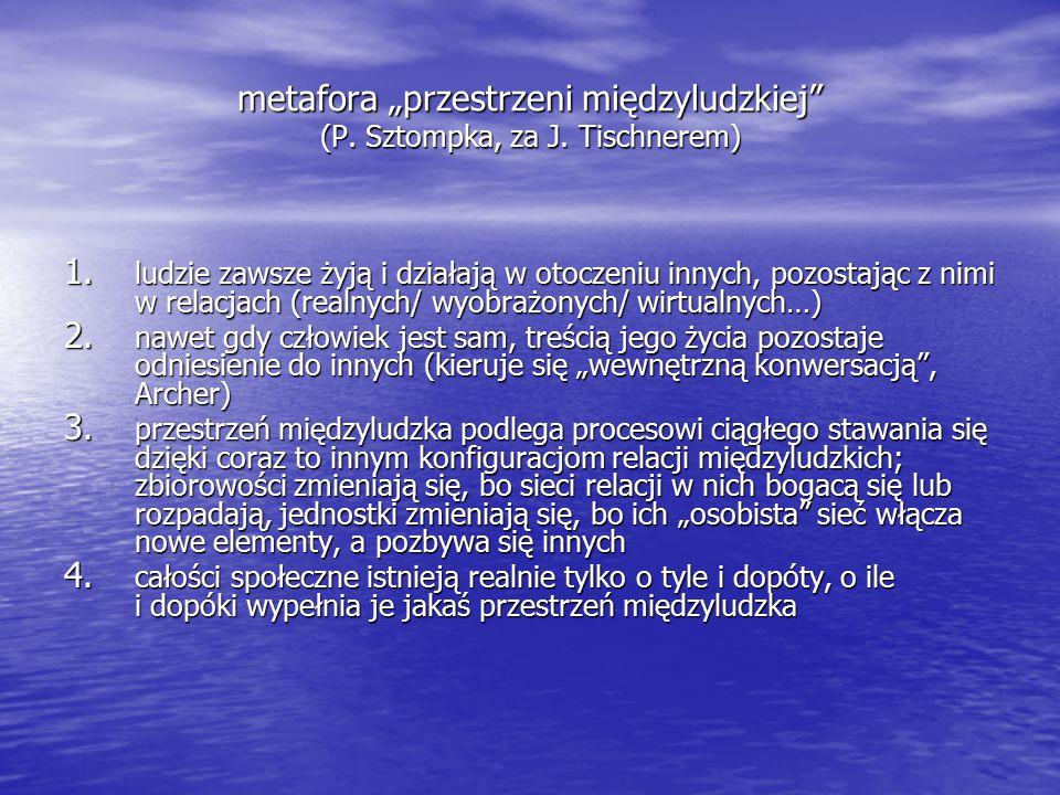"""metafora """"przestrzeni międzyludzkiej (P.Sztompka, za J."""