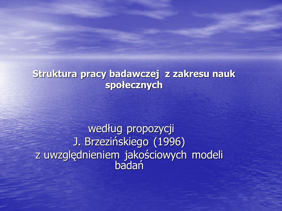 Struktura pracy badawczej z zakresu nauk społecznych według propozycji według propozycji J.
