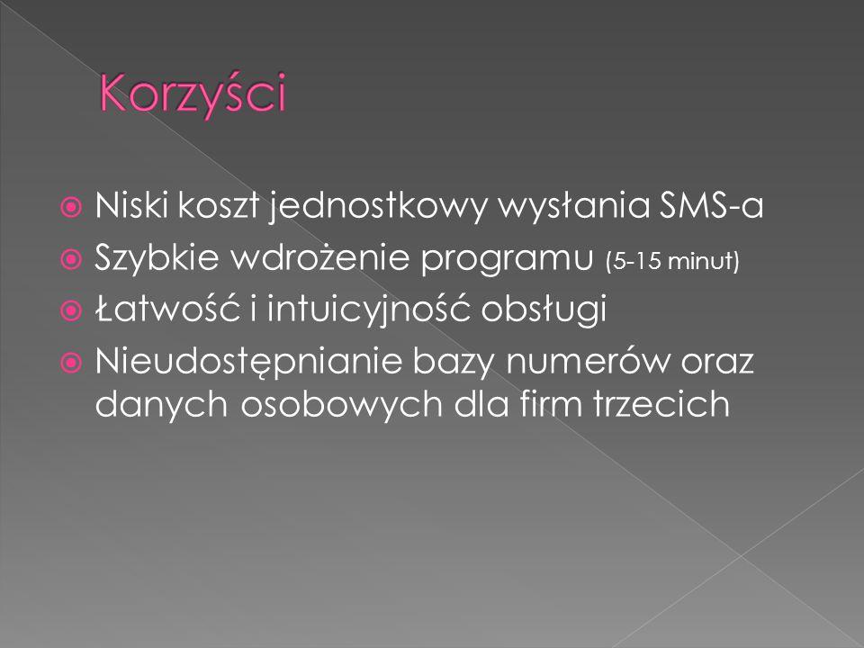  Niski koszt jednostkowy wysłania SMS-a  Szybkie wdrożenie programu (5-15 minut)  Łatwość i intuicyjność obsługi  Nieudostępnianie bazy numerów oraz danych osobowych dla firm trzecich