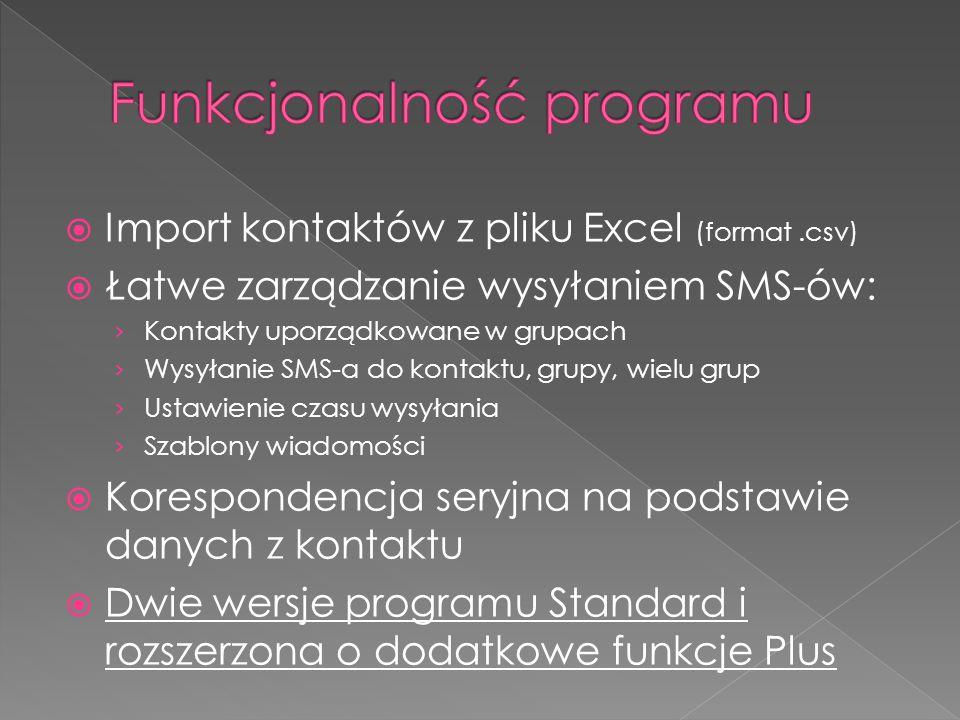  Prędkość wysyłania 1000-1200 SMS-ów na godzinę  Polskie znaki dialektyczne  Wiadomości typu Flash  Polska i angielska wersja językowa
