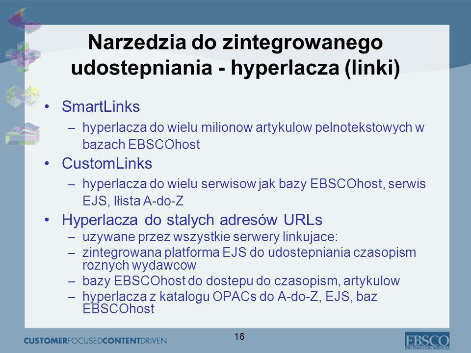 16 Narzedzia do zintegrowanego udostepniania - hyperlacza (linki) SmartLinks –hyperlacza do wielu milionow artykulow pelnotekstowych w bazach EBSCOhost CustomLinks –hyperlacza do wielu serwisow jak bazy EBSCOhost, serwis EJS, lłista A-do-Z Hyperlacza do stalych adresów URLs –uzywane przez wszystkie serwery linkujace: –zintegrowana platforma EJS do udostepniania czasopism roznych wydawcow –bazy EBSCOhost do dostepu do czasopism, artykulow –hyperlacza z katalogu OPACs do A-do-Z, EJS, baz EBSCOhost