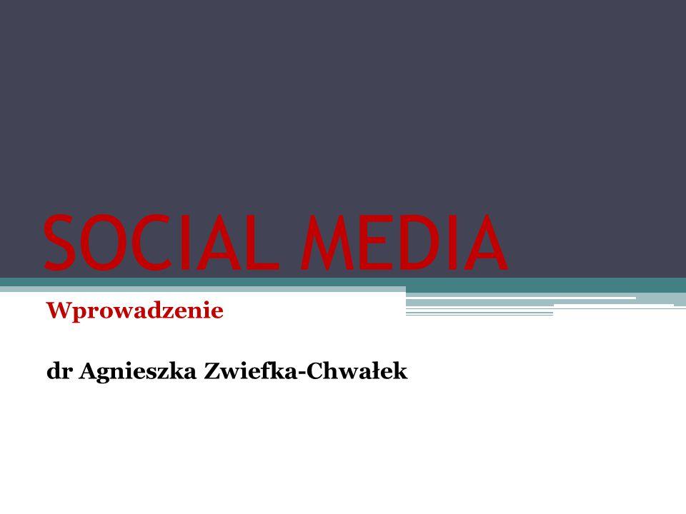 SOCIAL MEDIA Wprowadzenie dr Agnieszka Zwiefka-Chwałek