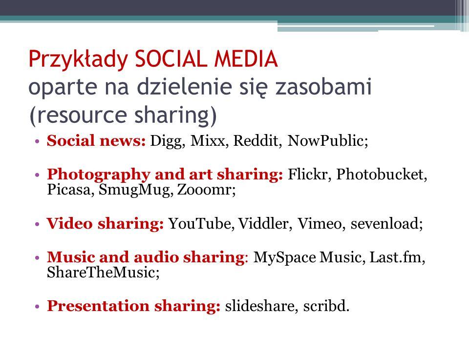 Przykłady SOCIAL MEDIA oparte na dzielenie się zasobami (resource sharing) Social news: Digg, Mixx, Reddit, NowPublic; Photography and art sharing: Fl