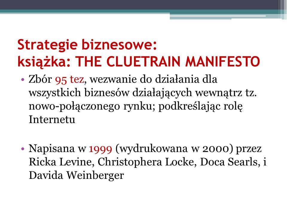 Strategie biznesowe: książka: THE CLUETRAIN MANIFESTO Zbór 95 tez, wezwanie do działania dla wszystkich biznesów działających wewnątrz tz. nowo-połącz