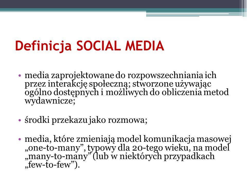 Definicja SOCIAL MEDIA media zaprojektowane do rozpowszechniania ich przez interakcję społeczną; stworzone używając ogólno dostępnych i możliwych do o
